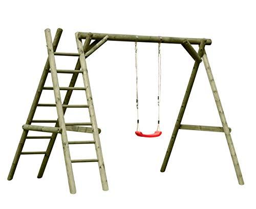 Gartenpirat Schaukel aus Holz Schaukelgestell Classic 2.1 mit Leiter