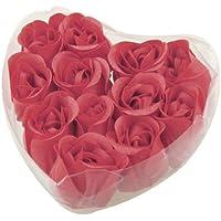 TOOGOO(R) 12pzs Jabon de petalo brote de rosa perfumado rojo Favor de boda + caja de forma del corazon