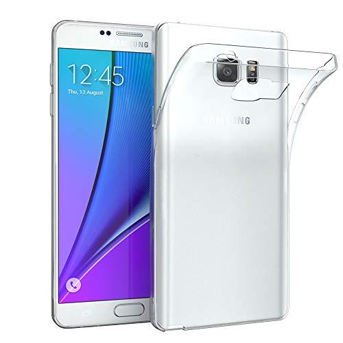 EAZY CASE Hülle für Samsung Galaxy Note 5 Schutzhülle Silikon, Ultra dünn, Slimcover, Handyhülle, Silikonhülle, Backcover, Durchsichtig, Klar Transparent