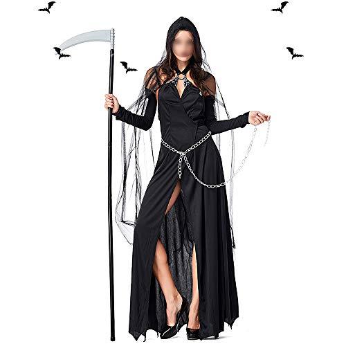 HUOFEIKE Halloween Hexe Cosplay Kostüm, Dark Sexy Style mit Kette Festival Kostüme für Bühnenaufführung Drama Performance Theme Party (Bezaubernd Hexe Für Erwachsene Kostüm)