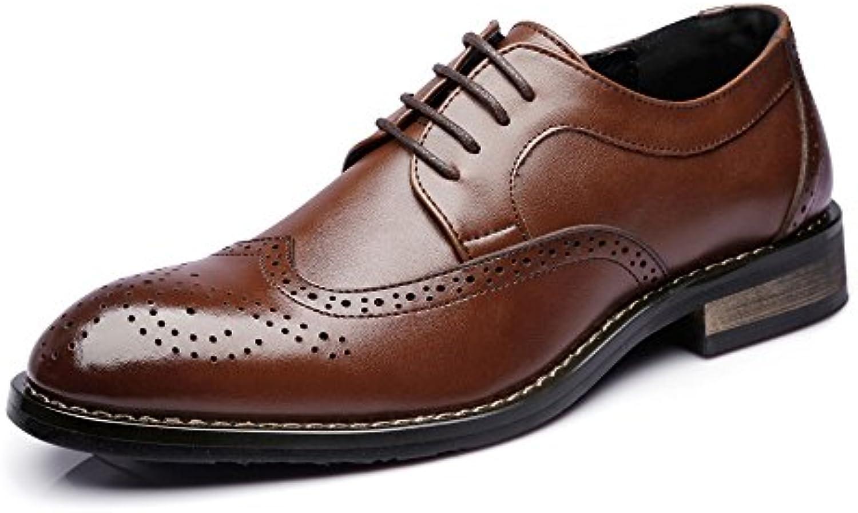 Yaojiaju Leder Oxford Schuhe Männer  Low Top Business Schuhe Matte Hohl Carving Echtes Leder Schnürung SchwarzYaojiaju Business Schnürung Atmungsaktiv Gefüttert
