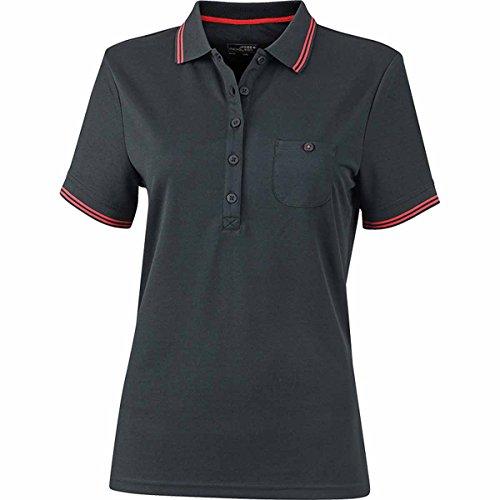 JAMES & NICHOLSON Damen Poloshirt, Einfarbig Schwarz
