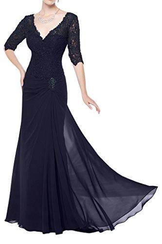Milano Bride Elegant Chiffon Spitze V-Ausschnitt Abendkleider Brautmutter Kleider A-Linie Langarm Bodenlang Navyblau
