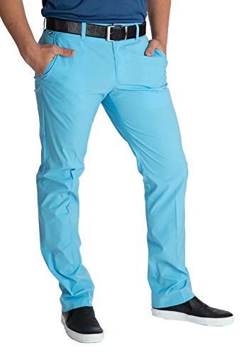 Herren Golf Hose Ellott Slim Micro Stretch (33/34, Blau) -