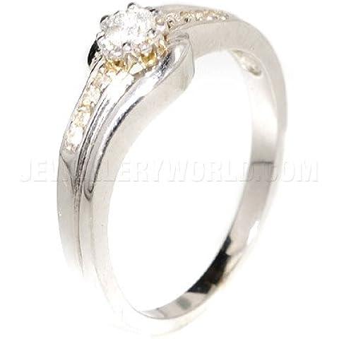 , diamante 0,20 kt, oro bianco 18 kt con solitario con spalle e attorniata Slim