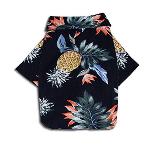 Sommer Ananas Print Polo T Shirts Hawaiianischen Stil Sonnenschutz Leichte Haustier Klimaanlage Kleidung Hund Baumwolle Sonnencreme T-Shirt Für Kleine Extra Kleine Hunde,Black,L -