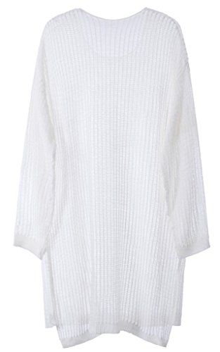 Vogueearth Femme's 3/4 Manche Knit Mesh Crew Neck Pullover Tunic Sweater Chandail Tricots Blanc