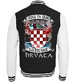 Kroatien Shirt/Ruku NA srce Kriz oko vrata TA je sivot pracog Hrvata/Kroatisch - College Sweatjacke -XS-Schwarz-Weiss