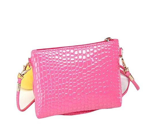 Handtaschen, Rcool Frauen-Krokodil-Leder Crossbody Kurier-Kupplungs-Schulter-Handtasche (Rosa)