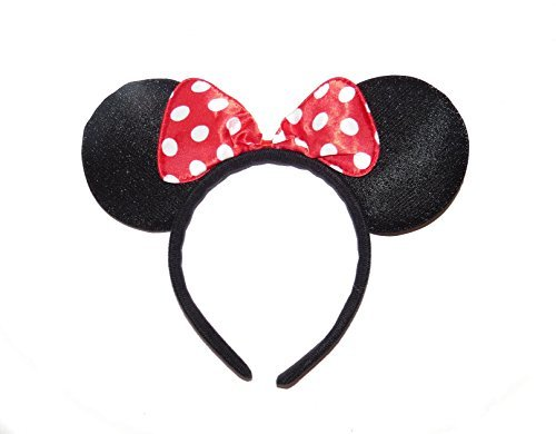 **NEW** BEAUTIFUL BLACK AND RED POLKA DOTS SPARKLE MINNIE MOUSE EARS - FANCY DRESS HEADBAND by Manchester (Fancy Dress Von Manchester)