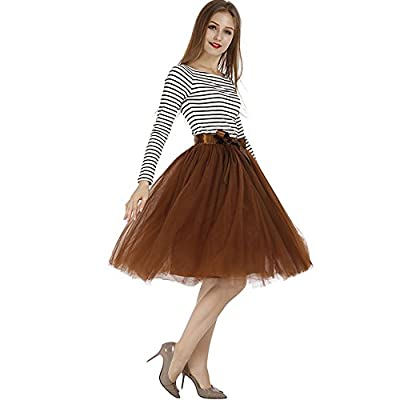 Tyhbelle Womens 7 Layers Midi Tulle Skirt Tutu Skirts Petticoat Ball Gown Paty Ballet Mesh Skirts