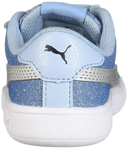 PUMA Girls  Smash V2 Glitz Glam Velcro Sneaker  Cerulean Silver  7 M US Toddler