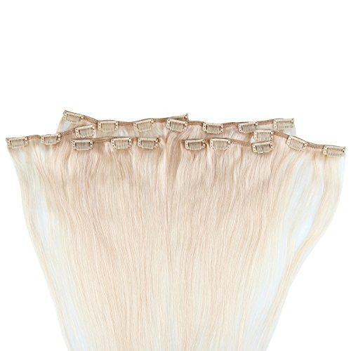 Beauty7 120g Extensions de Cheveux Humains à Clip 100% Remy Hair Haute Qualité #60 Couleur Blonde Platine Longueur 60 cm