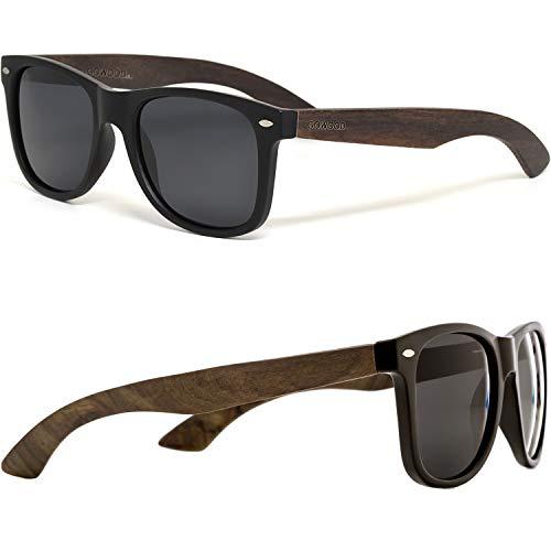 Gowood occhiali da sole da uomo e donna in legno di ebano con fronte nero matte e lenti polarizzate