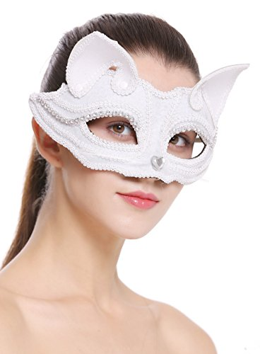 -white Halloween Karneval Maske Halbmaske Augenmaske Katze weiß (Weiße Katze Kostüm Ohren)