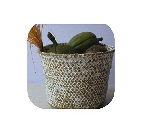 1Pc Bambus Storage Baskets Straw Patchwork Handgemachte Wäsche Wicker Rattan Seegras Garten-Blumen-Küche-Speicher-Korb, 2,16.3X12.5X12.5Cm -