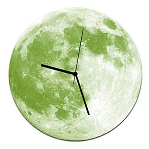 Uoging Nachtlicht Wanduhr Kreative Dunkeln leuchten Mond Nachtlicht Abnehmbare DIY Wand Dekorative für Wohnzimmer Schlafzimmer Büro und Küche 30 cm * 30 cm (Color : Light Green)