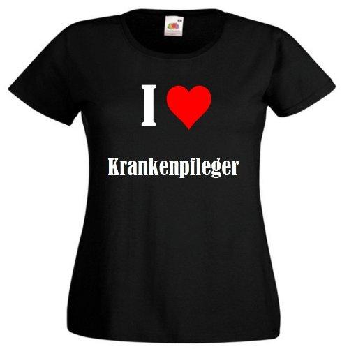 """T-Shirt """"I Love Krankenpfleger"""" für Damen Herren und Kinder ... in der Farbe Schwarz Schwarz"""