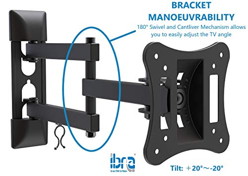41IAh6qPowL - Articulated Support for IBRA TV Compatible with Most Monitors from 13 to 27 Inches LCD LED and Curved TV, Tilting Swivel Arm, Wall Mount for Full Motion TV