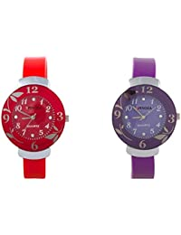 Freny Exim Luxurious Combo Of Red And Purple Dial Rubber Strap Women Analog Watch - For Girls