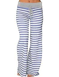 8859d3786f88 Kinikiss Lange Hose Damen Elegant Hosen Geblümt Locker Weites Bein  Freizeithose Long Trousers