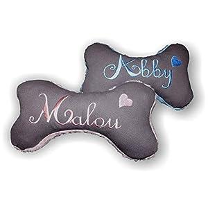 LunaChild Handmade Hunde Spielzeug Kissen Knochen Hundeknochen mit und ohne Quitscher/Rassel grau Größe XXS XS S M L XL oder XXL mit Name Wunschname Hundekissen