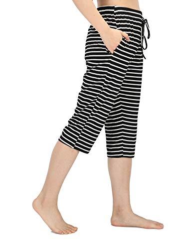 WEWINK CUKOO Damen Pyjamahose Schlafanzughose Baumwolle Nachtwäsche Schlafanzug Kurz geschnittene Sleep Hose mit Taschen -