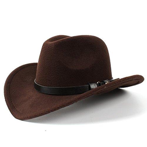 Breiter Sonnenhut, Frauen Männer Western Cowboy Hüte Lady Filz Cowgirl Sombrero Caps Für Frauen (Farbe : Kaffee, Größe : 56-58cm)