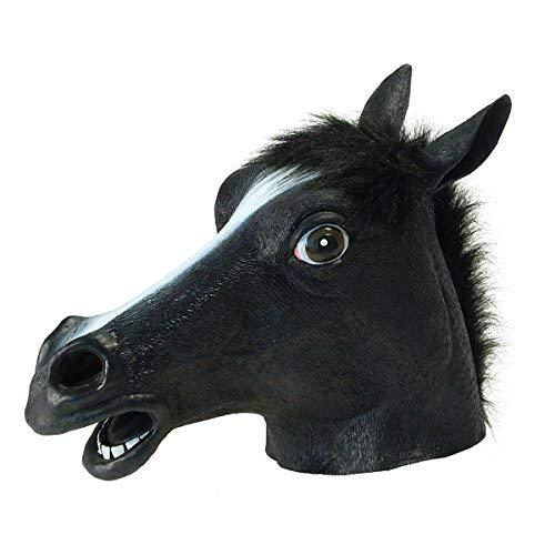 mmi Pferd Kopf Maske Schwarz, Latex Gummi Pferd Kopf Maske Kostüm Halloween Gangnam Stil Dance-One (Schwarz) ()