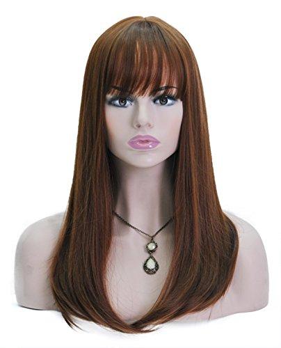 Spretty Glamouröse lange dunkle braune kleine wellenförmige synthetische Perücke für Damen Tägliches Kleid und (Braune Lange Perücke)