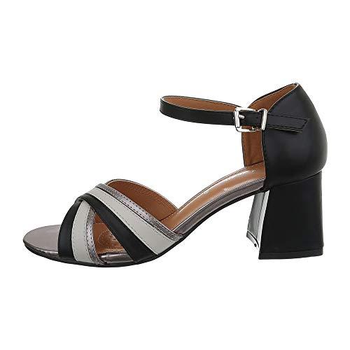 Ital-Design Damenschuhe Sandalen & Sandaletten High Heel Sandaletten Synthetik Schwarz Grau Gr. 39