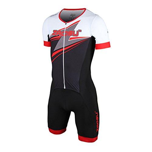 ZAOSU Herren Aerosuit Full Zip - Trisuit Einteiler | Premium compression Triathlonanzug mit komfortablem Verschlusssystem, Radpolster und hoher Kompression für lange Distanzen, Farbe:rot, Größe:L
