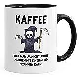 MoonWorks® Kaffee-Tasse Kaffee weil man ja nicht jeden Morgen mit einem Mord anfangen kann Spruch Papa schwarz unisize