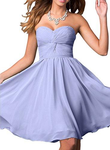 Gorgeous Bride Modisch Traegerlos Empire Chiffon Knielang Abendkleid Partykleider Cocktailkleider Lavendel