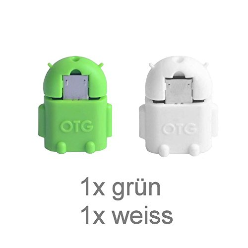KRS A1 Weiss /Grün - USB OTG Robot - otg Adapter Micro-USB-Stecker Typ B / USB-Kupplung Buchse Typ A OTG Android Roboter Robot -USB Adapter für Huawei Ascend Mate Mate 2 P6 P6S Samsung Galaxy S2 I9100 I9105P S3 I9300 I9305 Note N7000 Sony Xperia Z1 L39h Z1f Honami Mini Compact ZL L35i Tablet Z Huawei MediaPad Honor 6 7