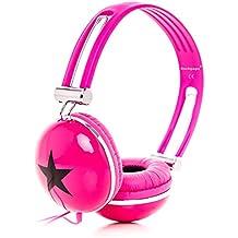 Rockpapa Estéreo Ajustable Star Niñas Niños Adultos Kids Auriculares, Suave Almohadillas, Graves Profundos para