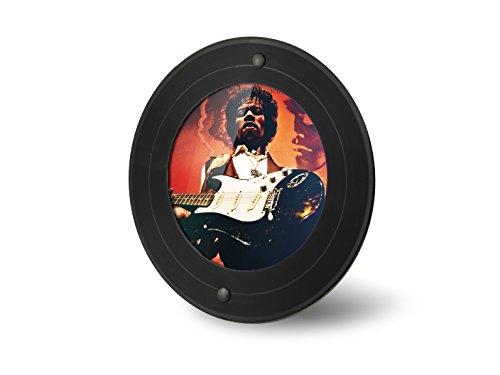 Runder Bilder-Rahmen aus echter Vinyl-Schallplatte (7 Zoll Maxi bzw. Single) mit rundem Bildausschnitt (11,5cm Durchmesser), Standrahmen für Hochformat und Querformat, Farbe: schwarz, Upcycling by JamOnMedia