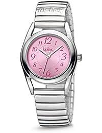 Reloj infantil de cuarzo con Kipling de equitación para niña rosa esfera analógica y plateado correa de acero inoxidable de K9400542