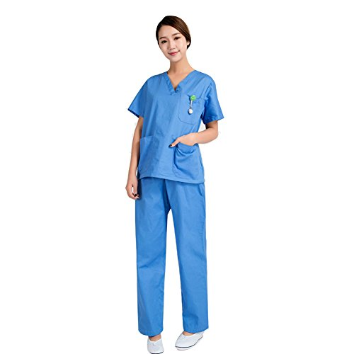 LPATTERN Damen Kasack und OP Hose Damen Set Krankenpflege Zubehör Bekleidung Schlupfjacke und Schlupfhose,Hellblau ,M (Hellblau Bekleidung)