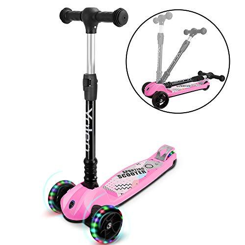 yoleo monopattino bambini 3 a 12 anni, monopattino 3 ruote con ruote lampeggianti in led, kids scooter, regolabile in altezza, capacità massima di 75 kg, regalo per bambini (rosa-pieghevole)