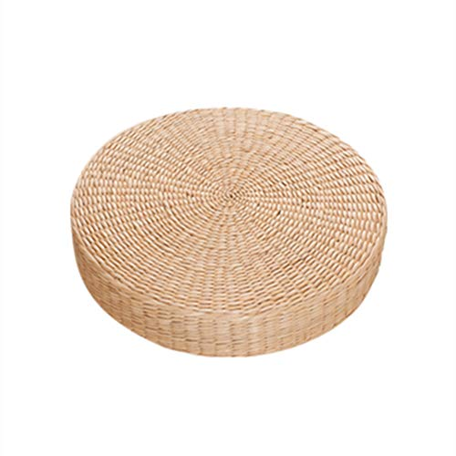XJ&DD Pufs de ratán,Cojines futón,Mat de té para Aire Libre Meditación Cojín de Yoga Esteras.Espesor 10cm (4inch)-B 60 cm de diámetro (24 Pulgadas)
