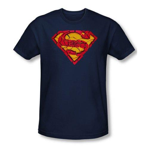 Superman - Herren Zerbrochenes Schild T-Shirt In Navy Navy