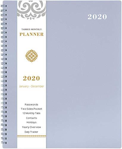 Terminkalender 2020 - Tagebuch mit TABS & Pocket & Label, Kontakten und Passwörtern, dickem Papier, Zwillingsbindung, 22 x 30 cm - Grau