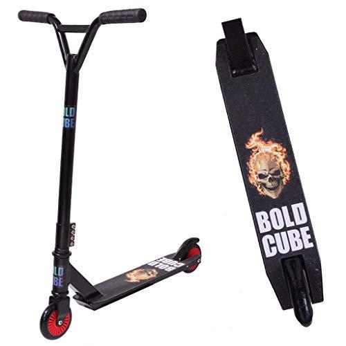 BOLDCUBE Stunt Scooter Stunt Roller - Freestyle Tretroller Pro 360 Grad Trick - Feste Stange - Leichtes Aluminiumdeck - ABEC 7 Lager - Vierfachklammer - Für Erwachsene und Kinder (Flame und Skull)