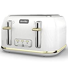 Breville Flow 4-Slice Toaster with High-Lift & Wide Slots | White & Gold [VKT976]