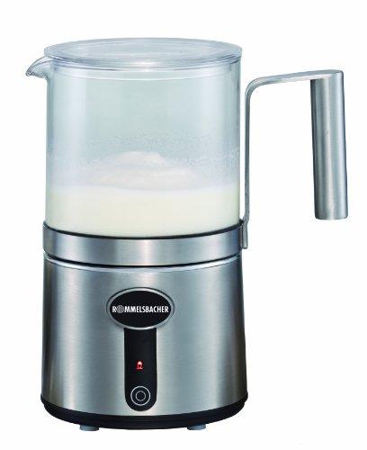 ROMMELSBACHER MS 650 Milchaufschäumer (auch geeignet für vegane Soja- und Kokosmilch, 6 Rührfunktionen, abnehmbare Glaskanne, Füllmenge bis 400 ml) Edelstahl