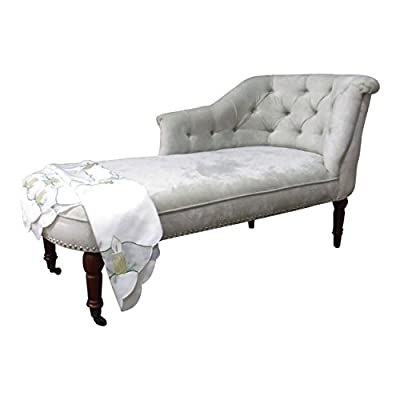 Designer Traditional Chaise Longue in Beige soft Chenille fabric by SimplyChaise