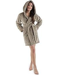 Damen Bademantel mit Kapuze, flauschiger Sherpa-Fleece, kurzer Saunamantel für Wellness Spa, CelinaTex, Trend Morgenmantel Serie Korfu