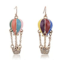 Lureme® Colorful Enamel Hot Air Balloon Chained Basket Gold Tone French Hook Dangle Earrings 2002344-1