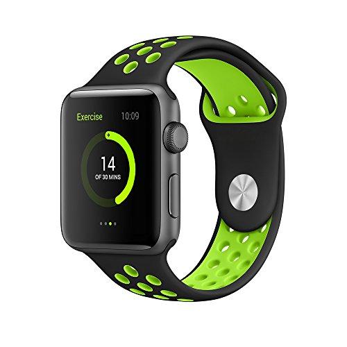 EloBeth For Apple Watch Armband Series 1 Series 2- Sport Smart Watch Silikon Strap Replacement Wrist Band Uhrenarmband Ersatzband Bügel für Apple iWatch/Apple Watch Nike+ (42mm, Schwarz/Grün)